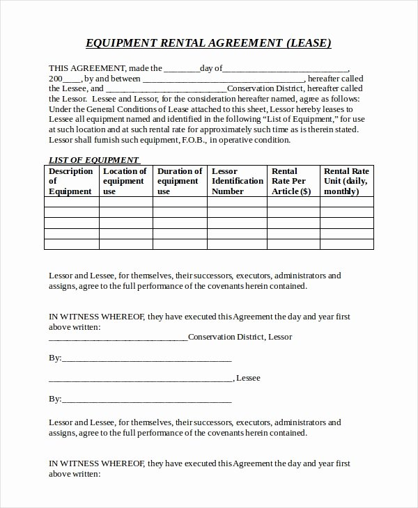 Equipment Rental Agreement Template Awesome 20 Equipment Rental Agreement Templates Doc Pdf