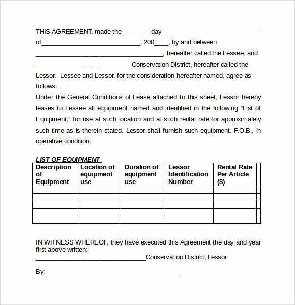 Equipment Rental Agreement Template Awesome 7 Equipment Lease Agreement Templates – Samples Examples