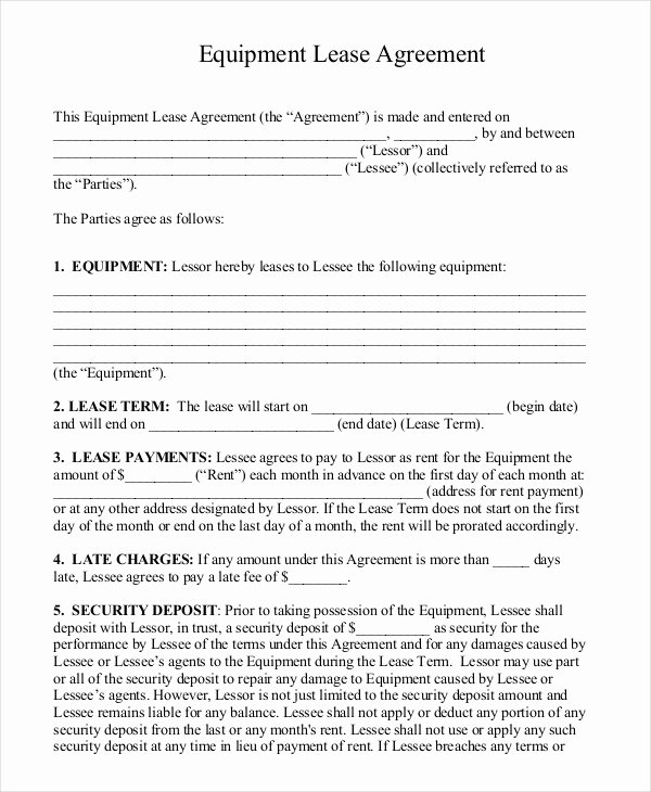Equipment Rental Agreement Template Beautiful 15 Rental Lease Agreement – Free Sample Example format
