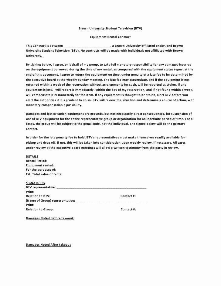 Equipment Rental Agreement Template Beautiful 20 Rental Agreement Templates Word Excel Pdf formats