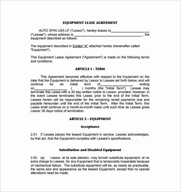 Equipment Rental Agreement Template Beautiful 9 Equipment Lease Agreement Templates
