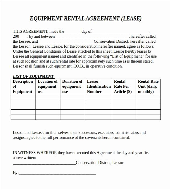 Equipment Rental Agreement Template Beautiful Rental Agreement Templates – 15 Free Word Pdf Documents