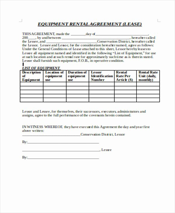 Equipment Rental Agreement Template Best Of 21 Sample Rental Agreement forms