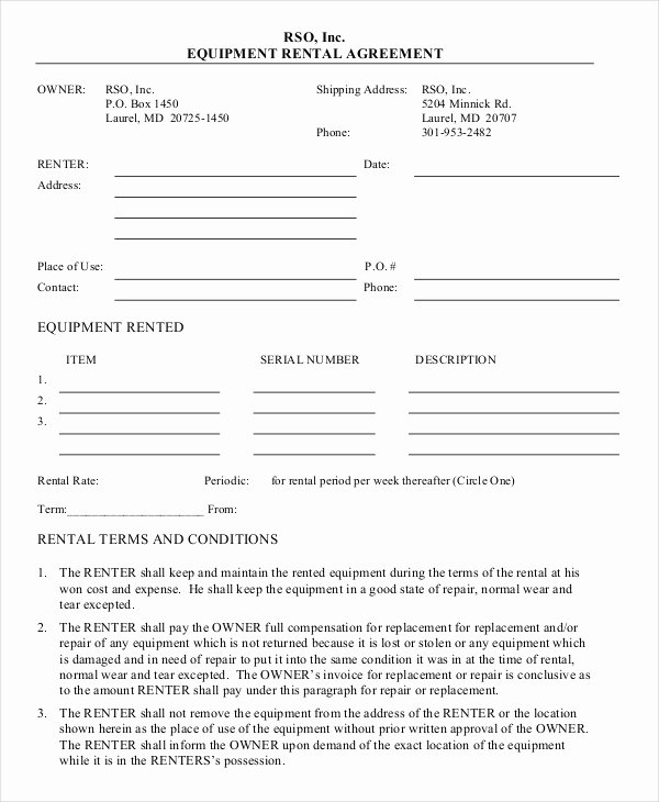 Equipment Rental Agreement Template Elegant 20 Equipment Rental Agreement Templates Doc Pdf