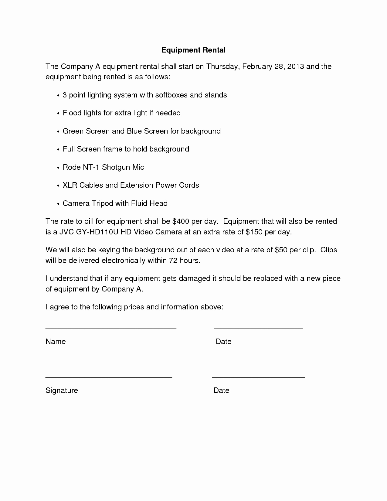 Equipment Rental Agreement Template Fresh 10 Best Of Simple Agreements Letters Template