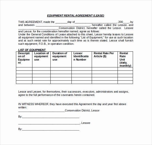 Equipment Rental Agreement Template Fresh 11 Equipment Lease forms to Download for Free