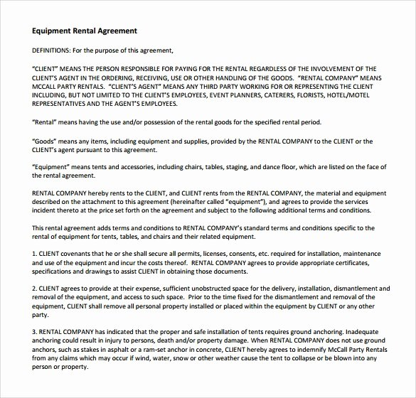 Equipment Rental Agreement Template Inspirational 14 Equipment Rental Agreement Templates