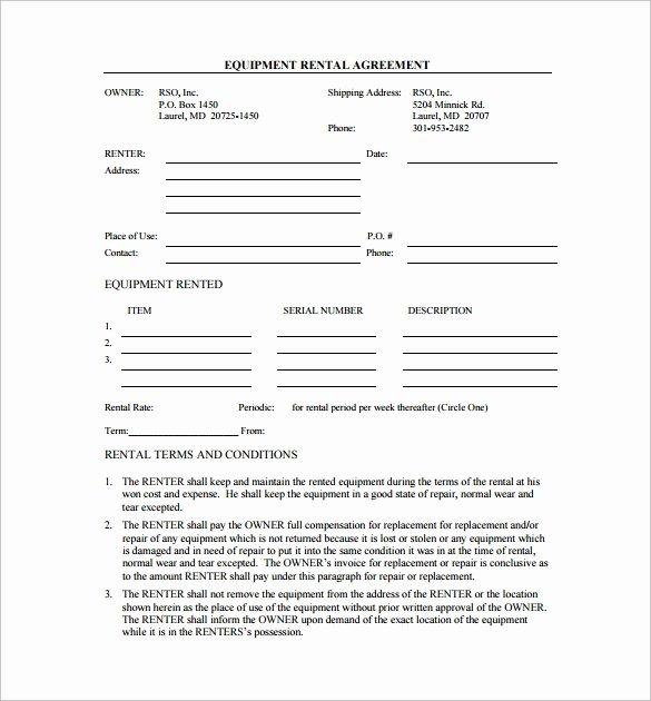 Equipment Rental Agreement Template Inspirational 9 Equipment Lease Agreement Templates