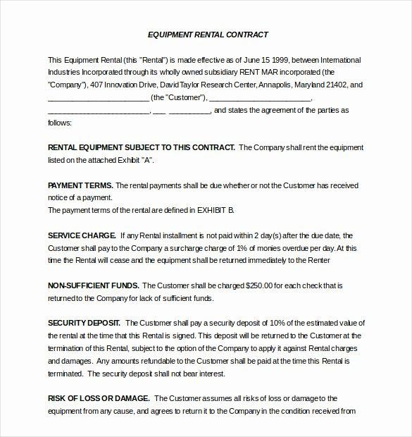 Equipment Rental Agreement Template Inspirational Rental Agreement Template – 20 Free Word Excel Pdf