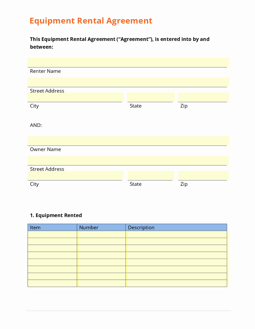 Equipment Rental Agreement Template Lovely Business form Template Gallery
