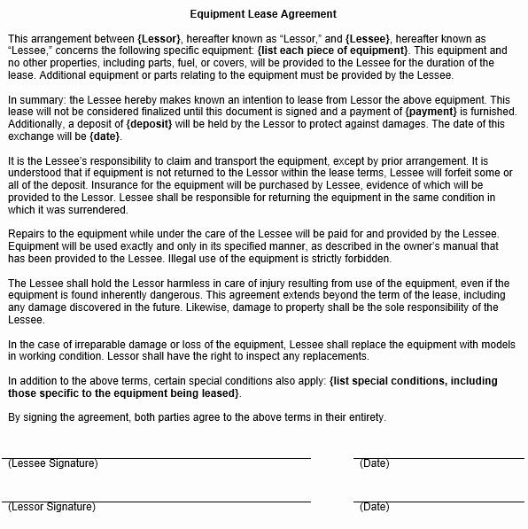 Equipment Rental Agreement Template Lovely Equipment Lease Agreement Template