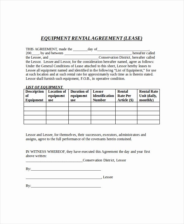 Equipment Rental Agreement Template Luxury 20 Free Lease Agreement Templates Word Pdf