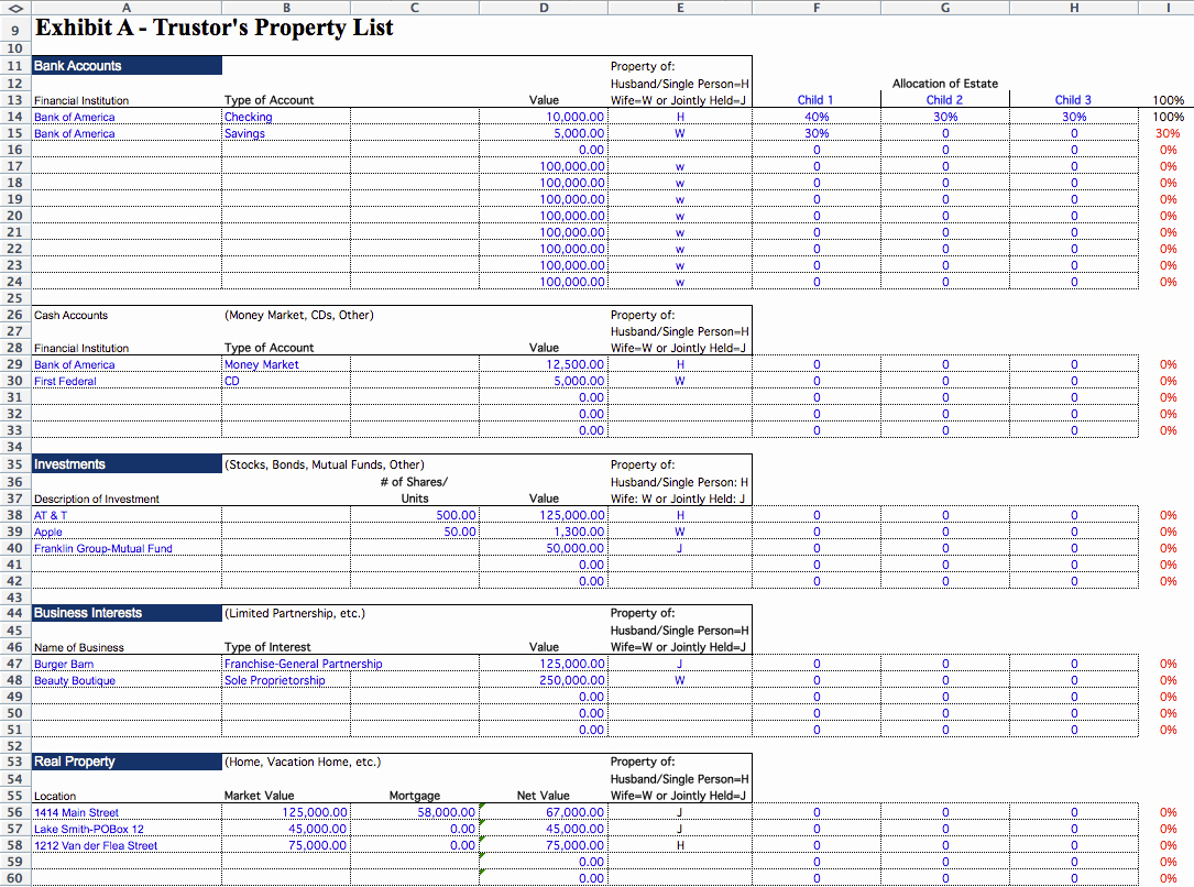 Estate Accounting Excel Template Beautiful Living Trust Builder Estate Planning software Template