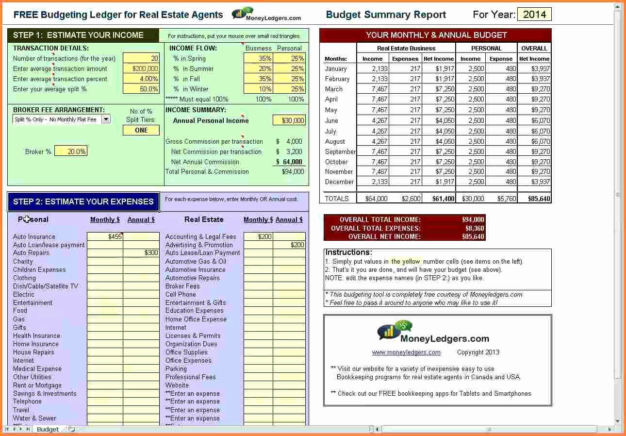 Estate Accounting Excel Template Best Of 5 Real Estate Agent Expense Tracking Spreadsheet