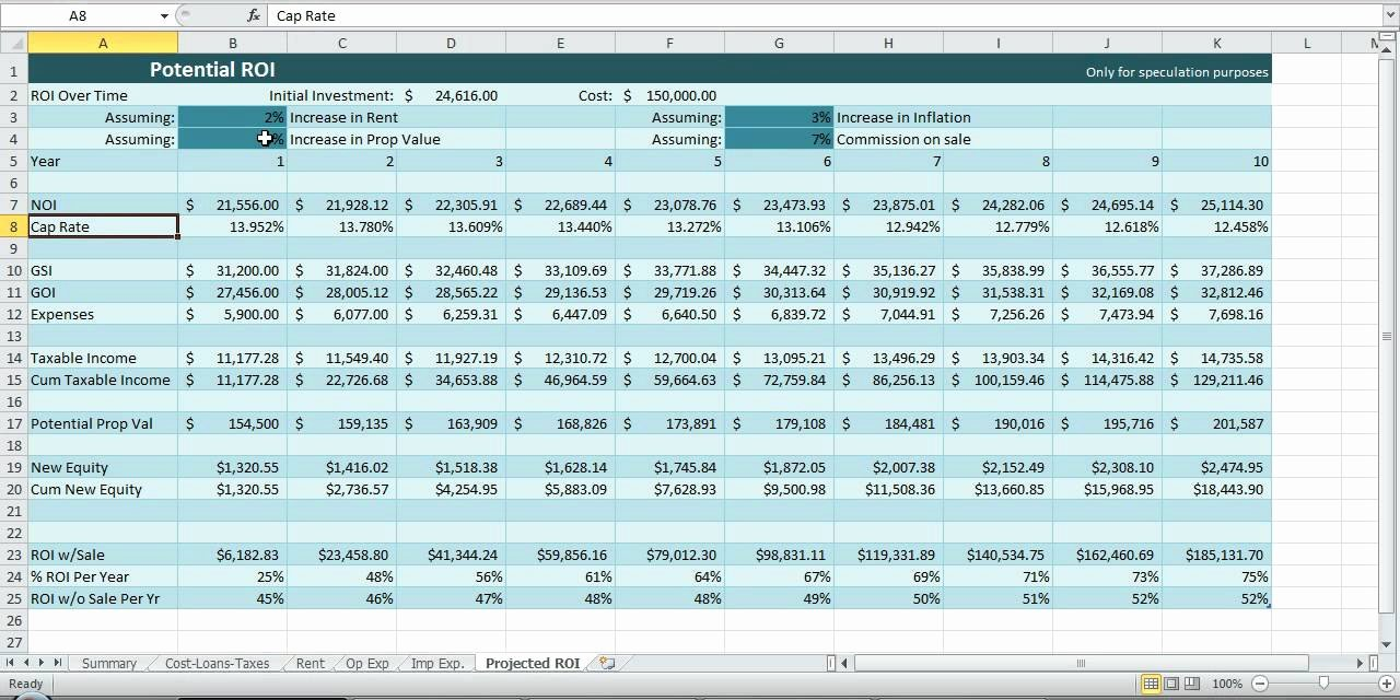 Estate Accounting Excel Template Unique Investment Property Spreadsheet Real Estate Excel Roi