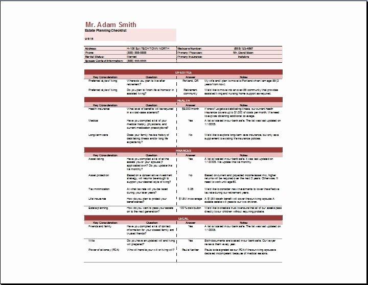 Estate Planning Template Excel Unique Estate Planning Checklist Template