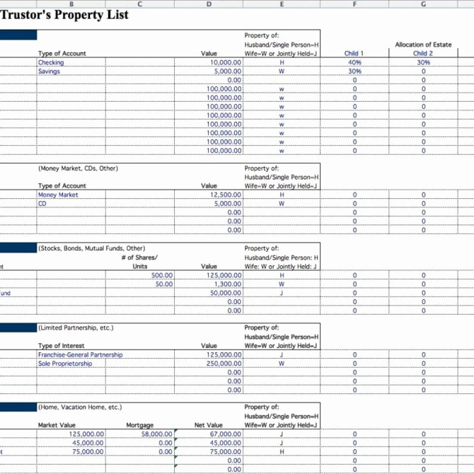 Estate Planning Worksheet Template Lovely 10 Estate Inventory Examples Pdf