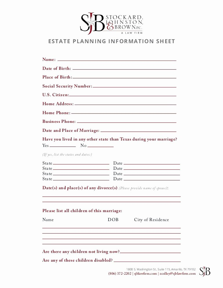Estate Planning Worksheet Template New 14 Best Estate Planning Worksheet Template