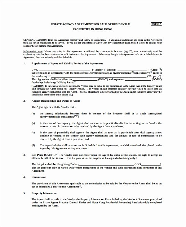 Estate Sale Contract Template Awesome 8 Sales Agency Agreement Templates