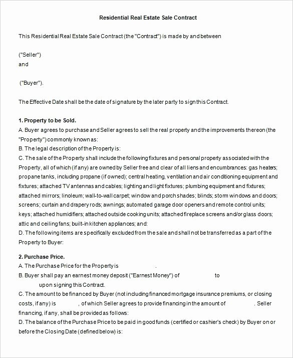 Estate Sale Contract Template Best Of Real Estate Sales Agreement Elegant Sample Purchase 7