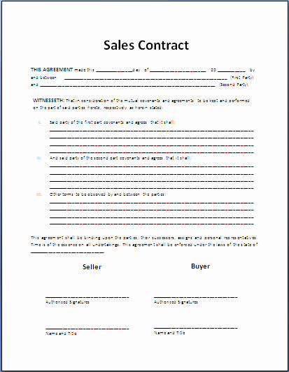 Estate Sale Contract Template Elegant Sales Contract Template Contract Templates