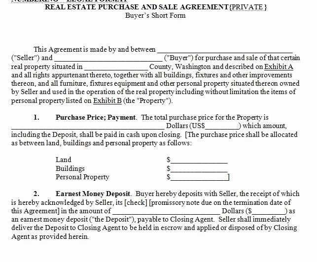Estate Sale Contract Template Lovely House for Sale Contract