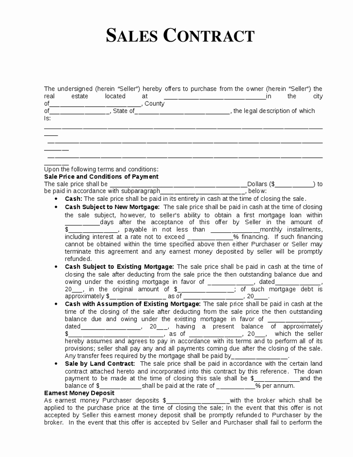 Estate Sale Contract Template New 10 Best Of Home Sale by Owner Agreement Template