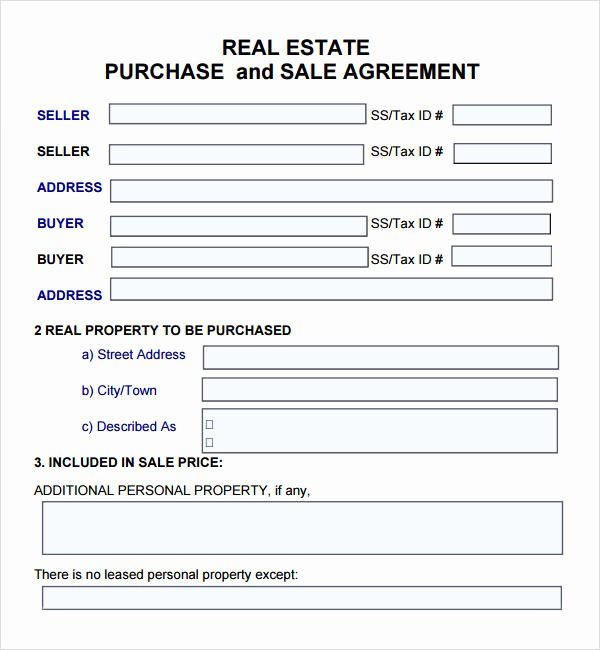 Estate Sale Contract Template New Purchase and Sale Agreement 7 Free Pdf Download