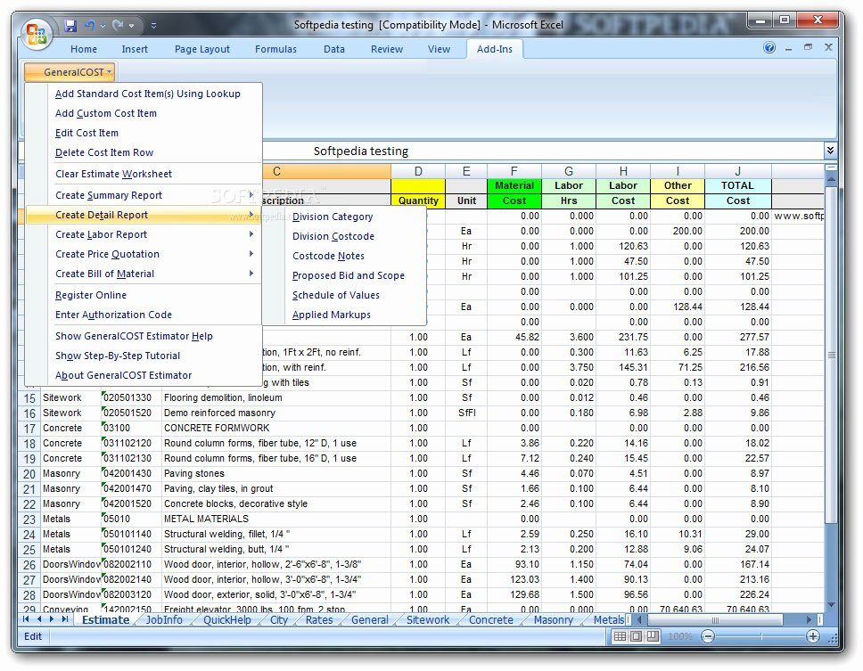 Estimating Template for Construction Inspirational Construction Cost Estimator
