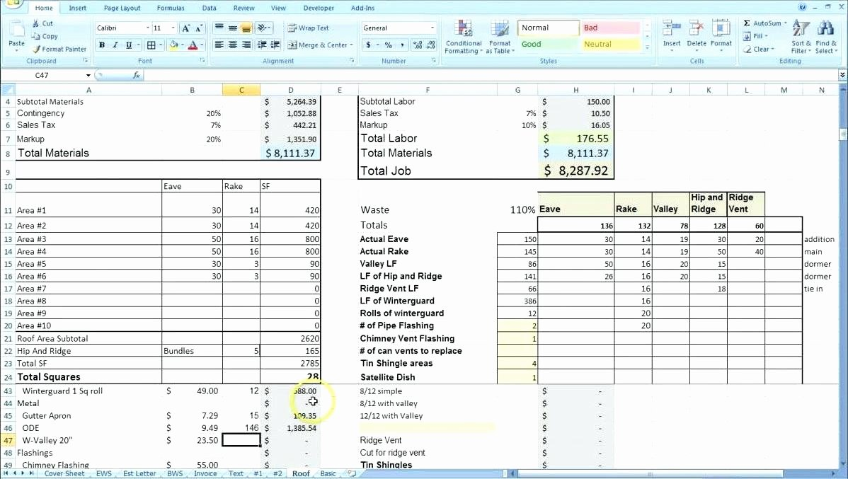 Estimating Template for Construction Lovely Landscaping Estimate Template