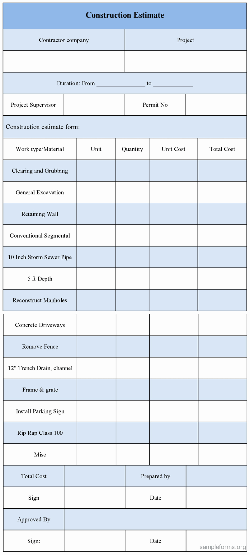 Estimating Template for Construction Unique Construction Estimate Template