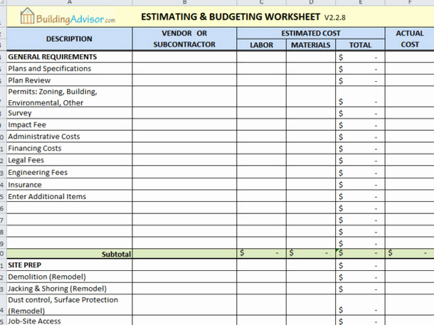 Estimating Template for Construction Unique Free Project Cost Estimating Spreadsheet