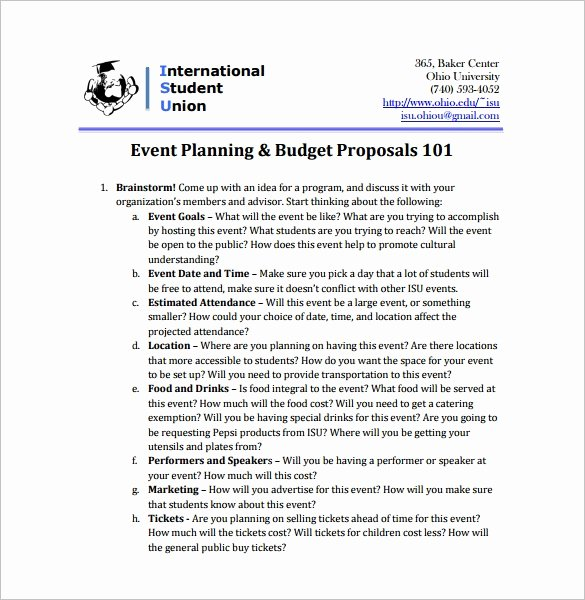 Event Budget Proposal Template Fresh event Proposal Template 21 Free Word Pdf format