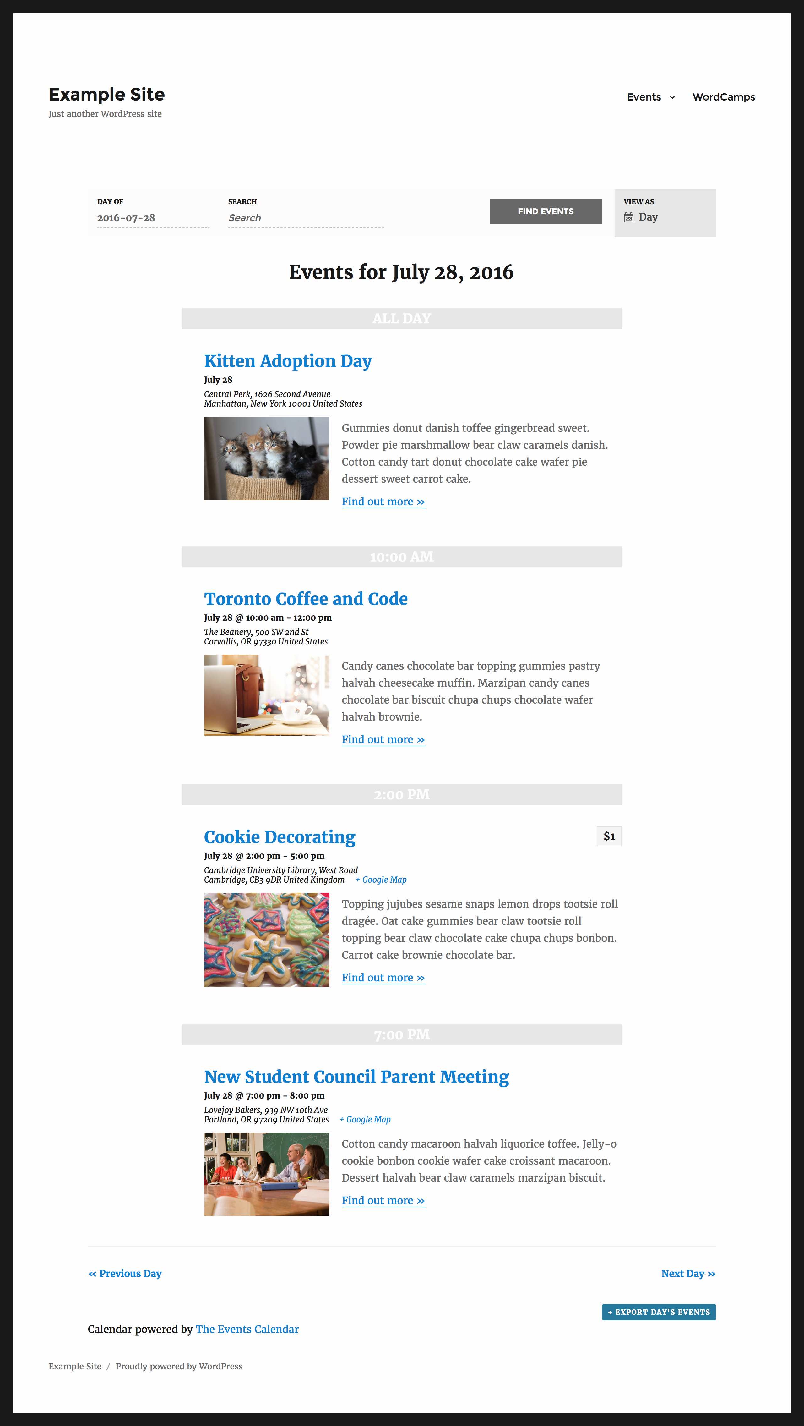 Event Calendar Template for Website Beautiful the events Calendar – Wordpress Plugin