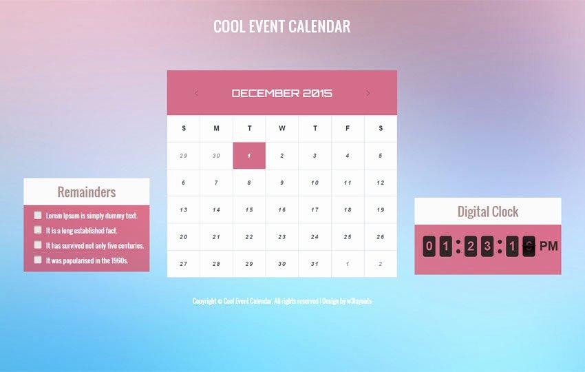 Event Calendar Template for Website Best Of Cool event Calendar Responsive Wid Template W3layouts