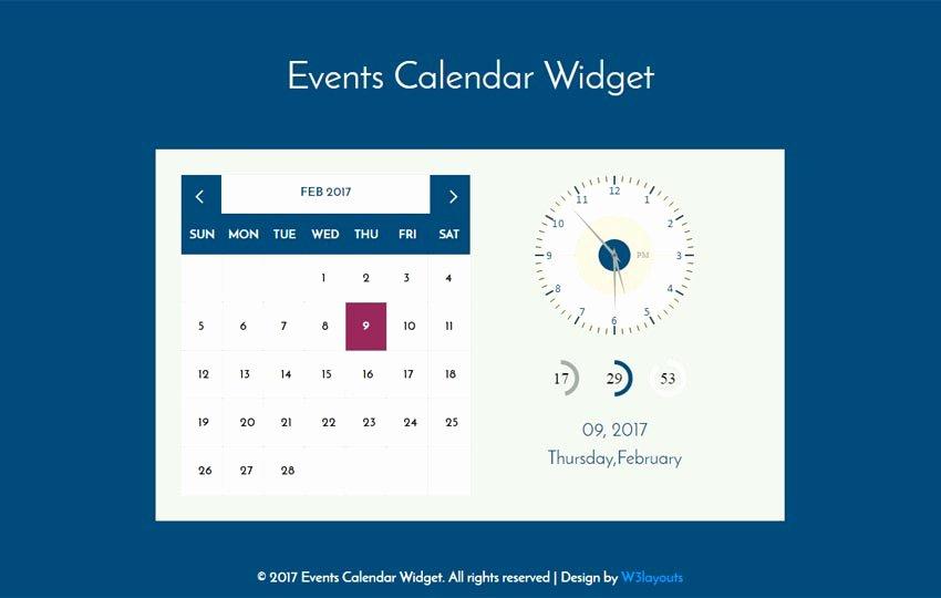 Event Calendar Template for Website Inspirational events Calendar Wid Flat Responsive Wid Template