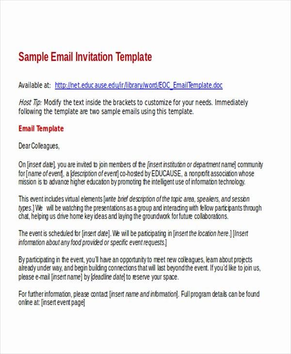 Event Invitation Email Template Fresh 9 Business E Mail Invitation Templates Word Pdf Psd