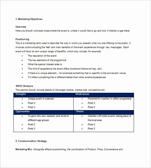 Event Marketing Plan Template Fresh event Marketing Plan Template – 17 Free Word Excel Pdf