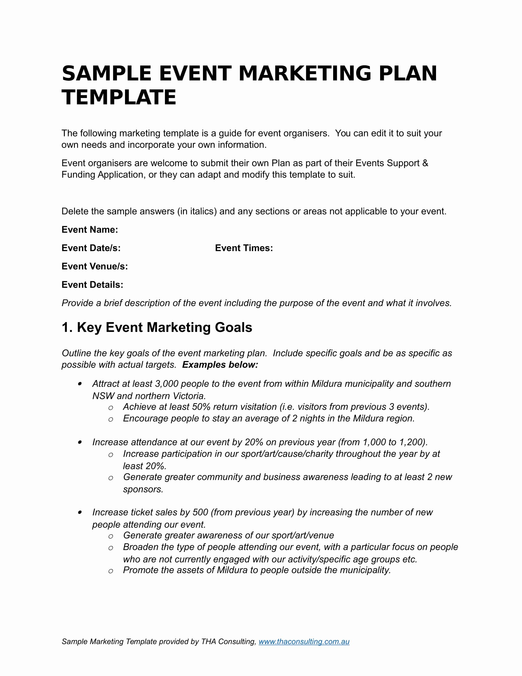Event Marketing Plan Template Unique 9 event Marketing Plan Examples Pdf Doc