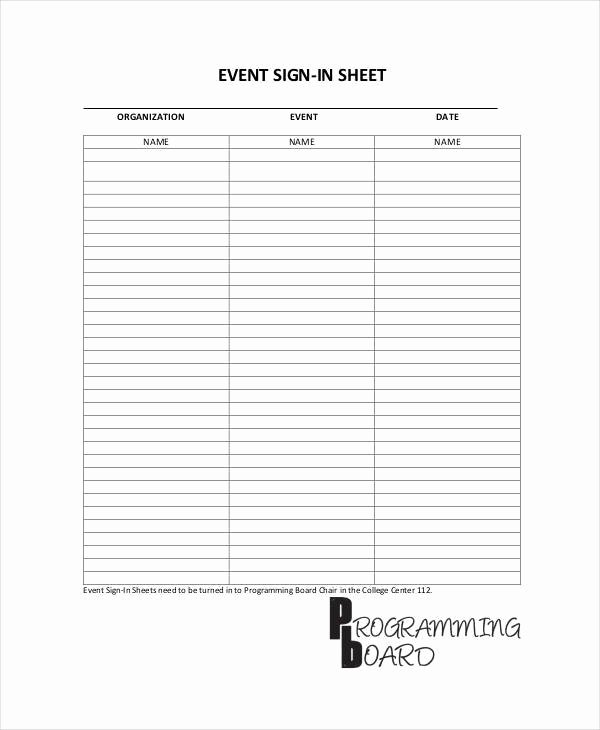 sample sign in sheet template