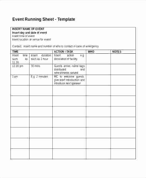 Event One Sheet Template Inspirational event Run Sheet Template