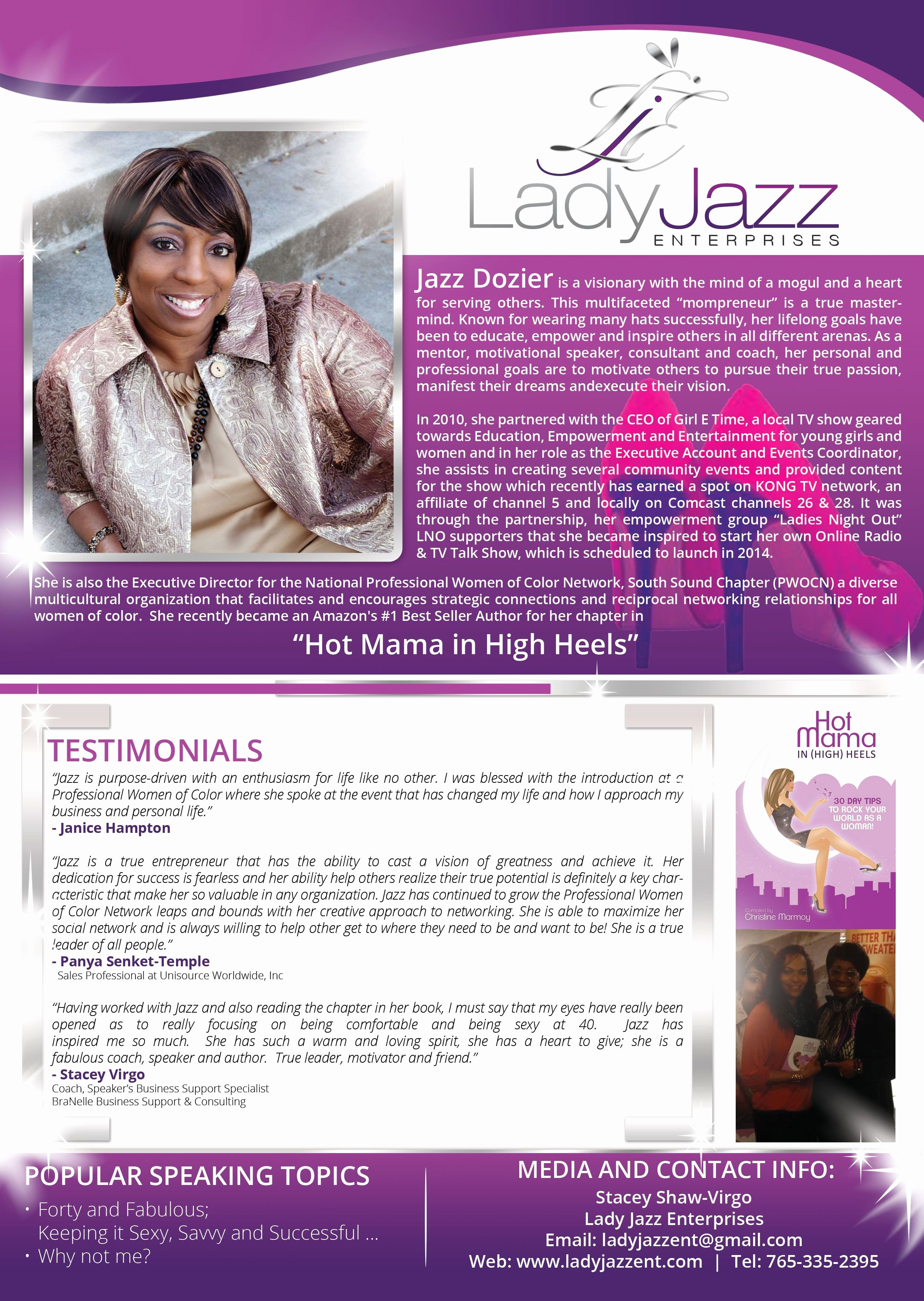 Event One Sheet Template Lovely Jazz Dozier Also Known as Lady Jazz Speaker One Sheet