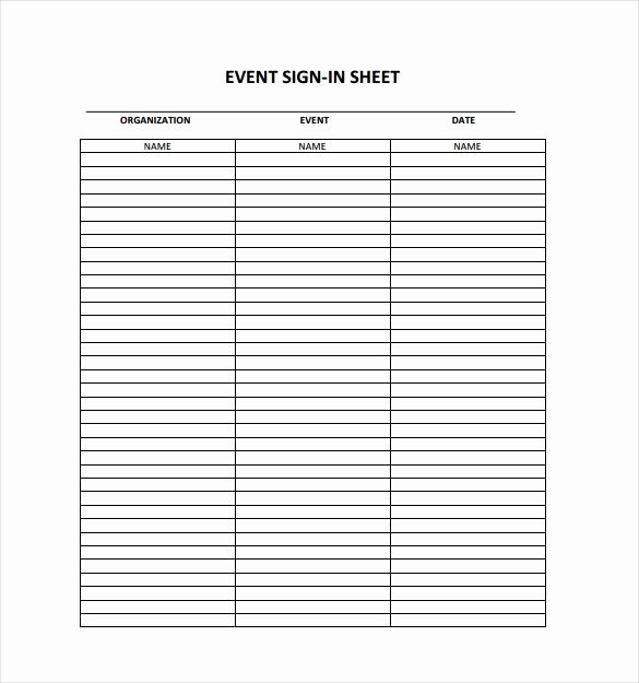 Event One Sheet Template Unique event Sign In Sheet Template Free Download Aashe