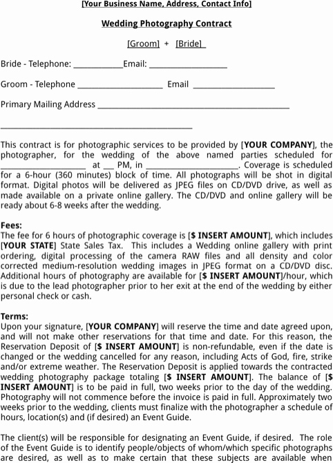 Event Photography Contract Template Beautiful Wedding Graphy Contract Template