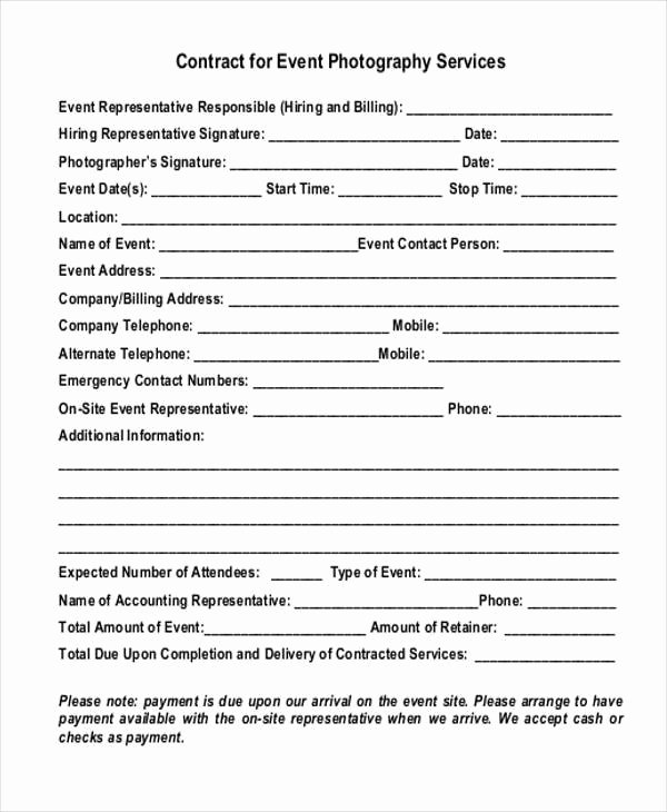 Event Photography Contract Template Best Of 7 event Contract form Samples Free Sample Example