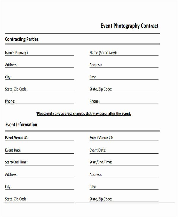 Event Photography Contract Template Inspirational 9 event Contract Templates – Free Sample Example format