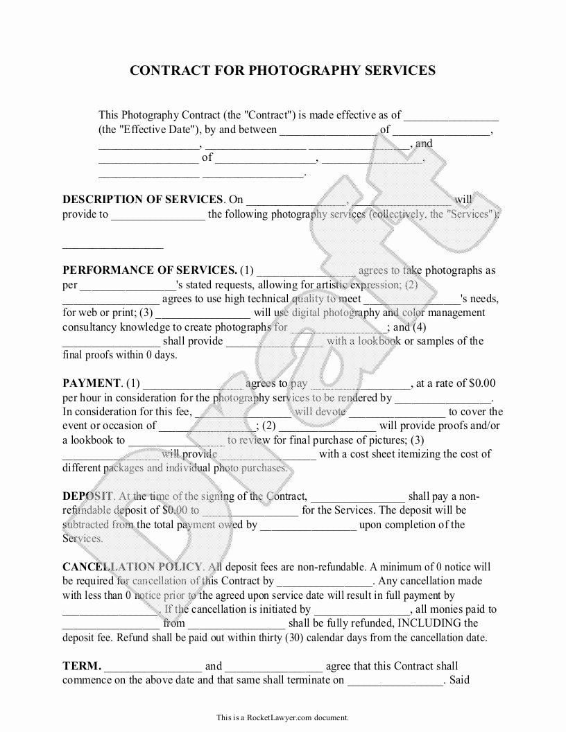 Event Photography Contract Template Luxury Graphy Contract Template for Weddings Portraits