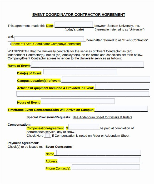 Event Photography Contract Template New 19 event Contract Templates to Download for Free