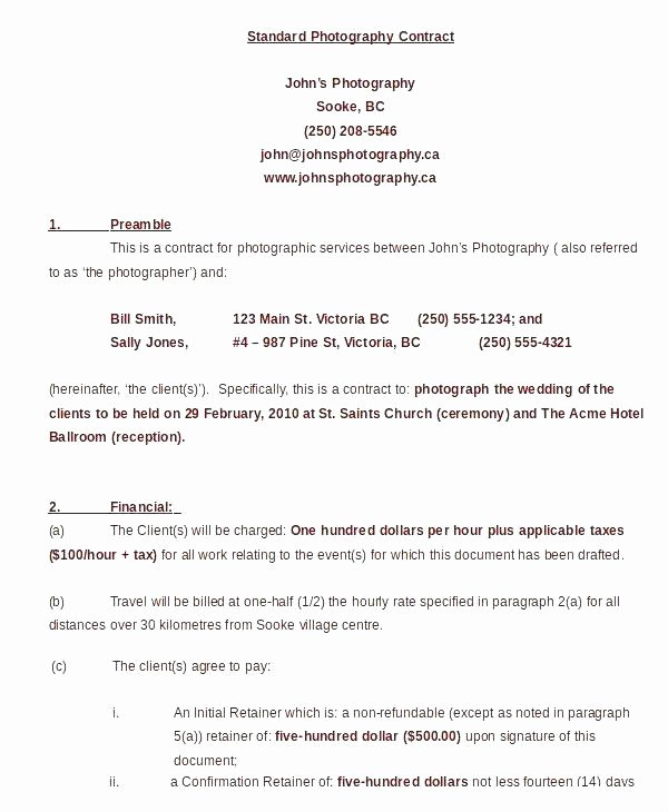Event Photography Contract Template Unique event Graphy Contract Templates Sample Proposal