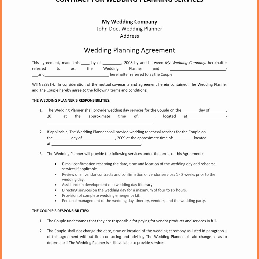Event Planner Invoice Template Best Of 5 event Planner Contract Template